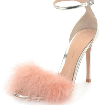 Gianvito Rossi Marabou Metallic Feather Sandals