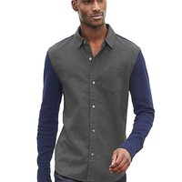 Banana Republic Mens Mixed Media Button Front Shirt