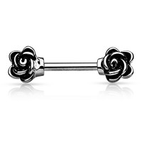 Rose Nipple Barbell Silver Nipple Rings Body Jewelry 14ga Nipple Jewelry Body Jewelry