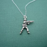 toy soldier sterling charm necklace