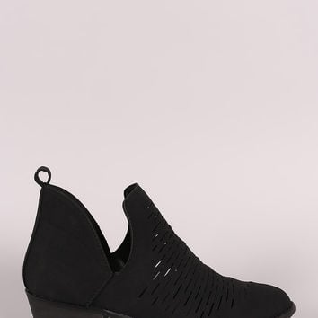 Perforated Side Slit Round Toe Ankle Boots