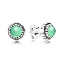 Birthday Blooms Stud Earrings, May, Chrysoprase