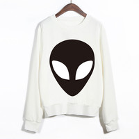 EAST KNITTING Autumn 2015 Fashion New Women Hoodies Aliens Printed Cotton O-Neck Long Sleeve  Women Casual Loose Sweatshirts