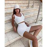 fhotwinter19 Explosion style casual plush V-neck sleeveless sweater shorts two-piece suit