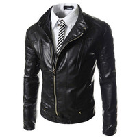 Slim Fit Men's Fashion Biker Zip Moto Black Leather Jacket