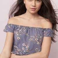 Gathered Off-Shoulder Crop Top