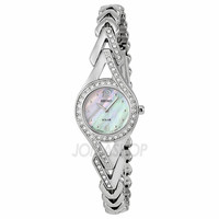 Seiko Solar Mother Of Pearl Dial Stainless Steel With Diamonds Ladies Watch SUP173