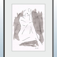 Original art nude sketch. Woman figure drawing. Ready to ship. Watercolor abstract and ink drawing.