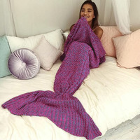 New Knitted Sofa Bedding Mermaid Tail Blanket Home Christmas Gift