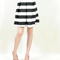 Stripe vintage pleated long skater skirt