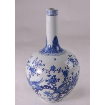 Chinese Gourd Vase Birds and Flowers Design