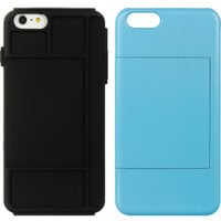 IPHONE 6 PLUS/6S PLUS STANDED CARD CASE BK SKIN W/NAVY RUBBE