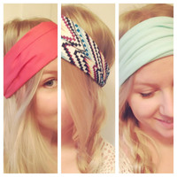 Spring Colors Popular Yoga Hipster Scarf Head Wrap Black Coral White Leopard Chevron Mint Polka Stretch Non-Marking DOLLAR SHIPPING in US