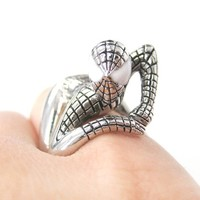Realistic Spiderman Wrapped Around Your Finger Ring in Shiny Silver   US Size 8 and 9   redditgifts