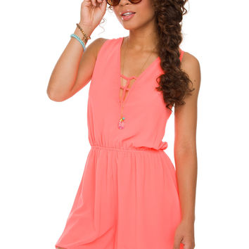 Off The Grid Romper - Neon Coral
