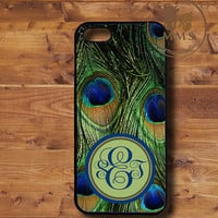Monogram iPhone 5 Case, iPhone 4/4s Case, Samsung Galaxy S3-Silicone Rubber or Hard Plastic Case, Personalized case-peacock-N034