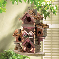 Gingerbread Condo Style House Collectors Village Eucalyptus Wood Birdhouse