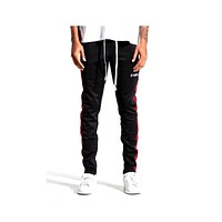EPTM Men's Burgundy Striped Karter Track Pants Black Burgundy