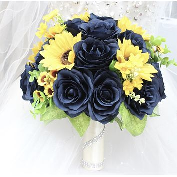 Navy Blue Roses and Yellow Sunflowers Keepsake Artificial Bouquet - Choose Size