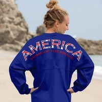 America, Home of the Brave - American Preppy Print Spirit Football Jersey®