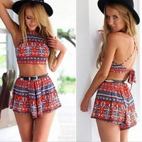 Summer fashion neck hung printing two-piece outfit
