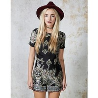 Hearts and Bows Shadow Paisley Playsuit