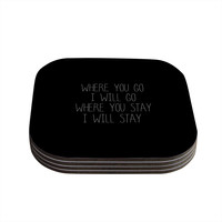 """Suzanne Carter """"Where You Go"""" Coasters (Set of 4) - Outlet Item"""