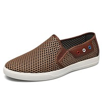 Men Summer Boat Shoes Slip-on Flats Men Loafer Casual Shoes Designer Mens Beach Shoes Breathable