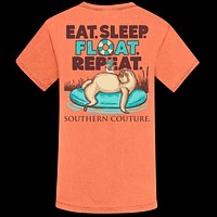 Southern Couture Eat Sleep Float Sloth Comfort Colors T-Shirt