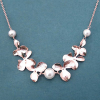 Triple, Pearl, Double, Orchid garden,  Gold, Silver, Rose gold, Necklace, Birthday, Wedding, Anniversary, Engagement, Gift, Jewelry