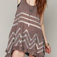 Coffee Sheer Lace Insert Sleeveless Flounce Hem Dress-Top