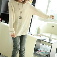 Woman's Round Neck Sweater with Batwing Sleeve