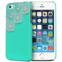 iPhone SE Case, Fosmon GEM-LACE Series 3D Bling Lace Design Case for Apple iPhone SE / 5S / 5 (Mint)