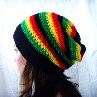 10% discount with coupon code SLAVENA Black, Yellow, Green, Red, Jamaican Cozy Hat Slouchy Beanie Rasta Barrette Crochet