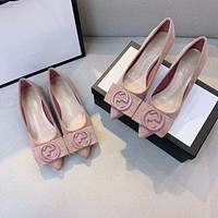 GUCCI new style flat shoes women leather casual comfortable pointed shallow mouth all-match high heels single shoes