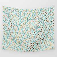 Berry Branches – Turquoise & Gold Wall Tapestry by Cat Coquillette