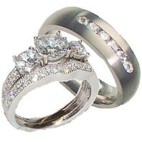 His Her Wedding Ring Set Sterling Silver Titanium Cz Wedding Ring Set