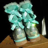 Blinged Out Surf Spray Bailey Bow Uggs w/ Swarovski Crystals- Turquoise  Uggs with Crystal Bling