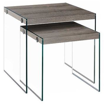 "35'.5"" x 35'.5"" x 35'.5"" Dark Taupe, Clear, Particle Board, Tempered Glass - 2pcs Nesting Table Set"