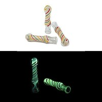 "Glow in the Dark Chillum - Rasta Line (3.5"")"