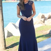 Navy Maxi Dress with Lace Cut Outs