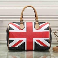 Louis Vuitton LV Fashion Leather Flag Travel Handbag Tote Shoulder Bag Satchel