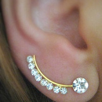 Earring Pair ear pin for piereced ear Gold filled with swarovsky - Pair -  ER18