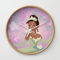 tiana in the flowers Wall Clock by studiomarshallarts