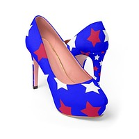 Women's red white and blue stars platform heels