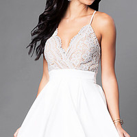 White Short Lace Bodice Dress
