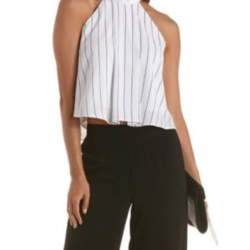 White/Black Striped Mock Neck Swing Crop Top by Charlotte Russe