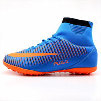 MAULTBY Men's Blue Orange High Ankle Turf Sole Indoor Cleats Football Boots Shoes Soccer Cleats #TF31630N