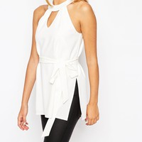 ASOS Sleeveless Belted Tunic with Keyhole Detail