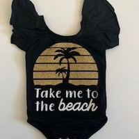 Take Me to the Beach - Ruffle Onesuit - Mia Grace Designs - Adventure Line